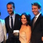 Eduardo Bodstei (produtor) Rodrigo Santoro, Regina Duarte, Ivan Izzo (curador) Heloisa Barroso (assistente de prod.) e Lucia Capuchinqui (Produtora executiva)
